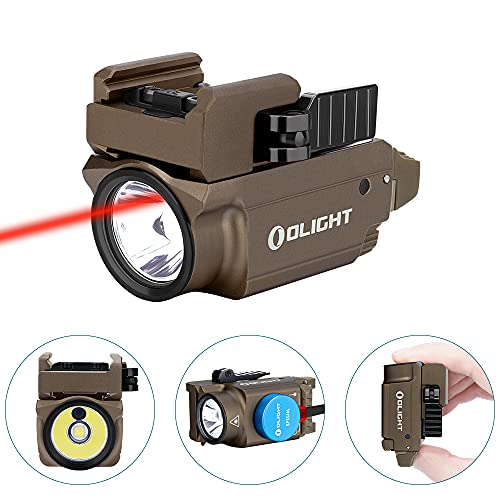 OLIGHT Baldr RL Mini Tactical Flashlight 600 Lumens with Red Beam130M Max Throw Weaponlight Powered by 230mAh Rechargeable Battery for Self Defense Law Enforcement Desert Tan