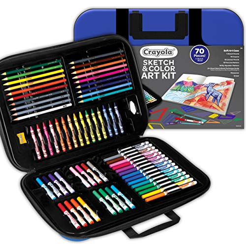 Crayola Coloring and Sketching Set, 70pcs + Sketch Book, Gift for Kids, 8, 9, 10, 11