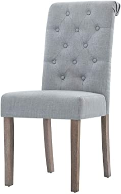 Dining Chairs Set of 2, Artiss Upholstered Dining Chairs Fabric Dining Room Chairs Provincial Restaurant Chairs, Light Grey