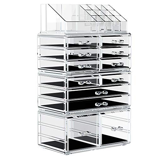 YITAHOME Makeup Organizer Acrylic Jewelry Storage Case Display Box Spacious Clear Cosmetic Storage Drawers for Dresser, Vanity and Countertop with 12 Drawers 16 Inches High