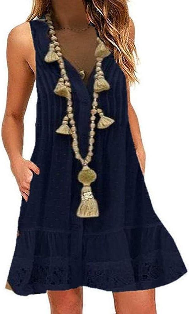 AODONG Dresses for Women,Women's Vintage Boho V-Neck Sleeveless Beach Lace Cocktail Party Short Mini Dress Sundress