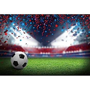 DORCEV 6x4ft Football Field Backdrop Sports Game Party Sports Birthday Party Background Green Grass Field Soccer Spotlight Lights Colorful Ribbon Children Adult Sports Club Photo Studio Props