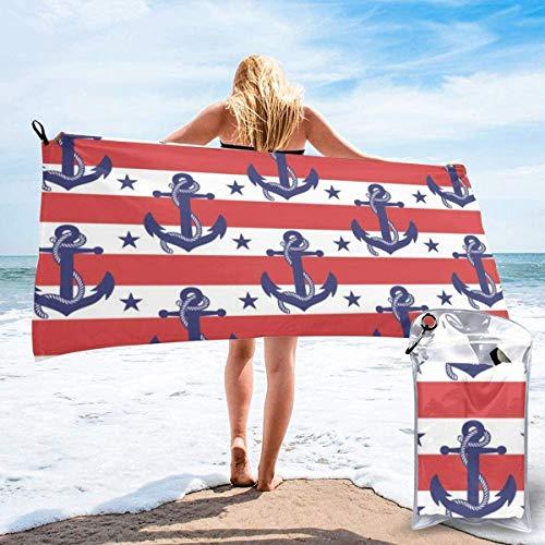 N/A zeeman strepen en anker strand snel drogen handdoek microvezel yoga fitness absorberende handdoek outdoor klimmen snel drogen handdoek