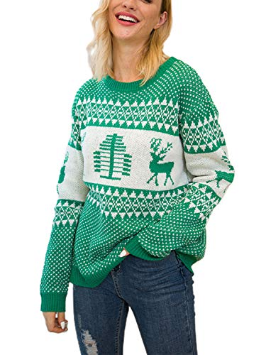 Joeoy Women's Ugly Christmas Tree Reindeer Knitted Sweater Jumper Pullover (Green)-XL