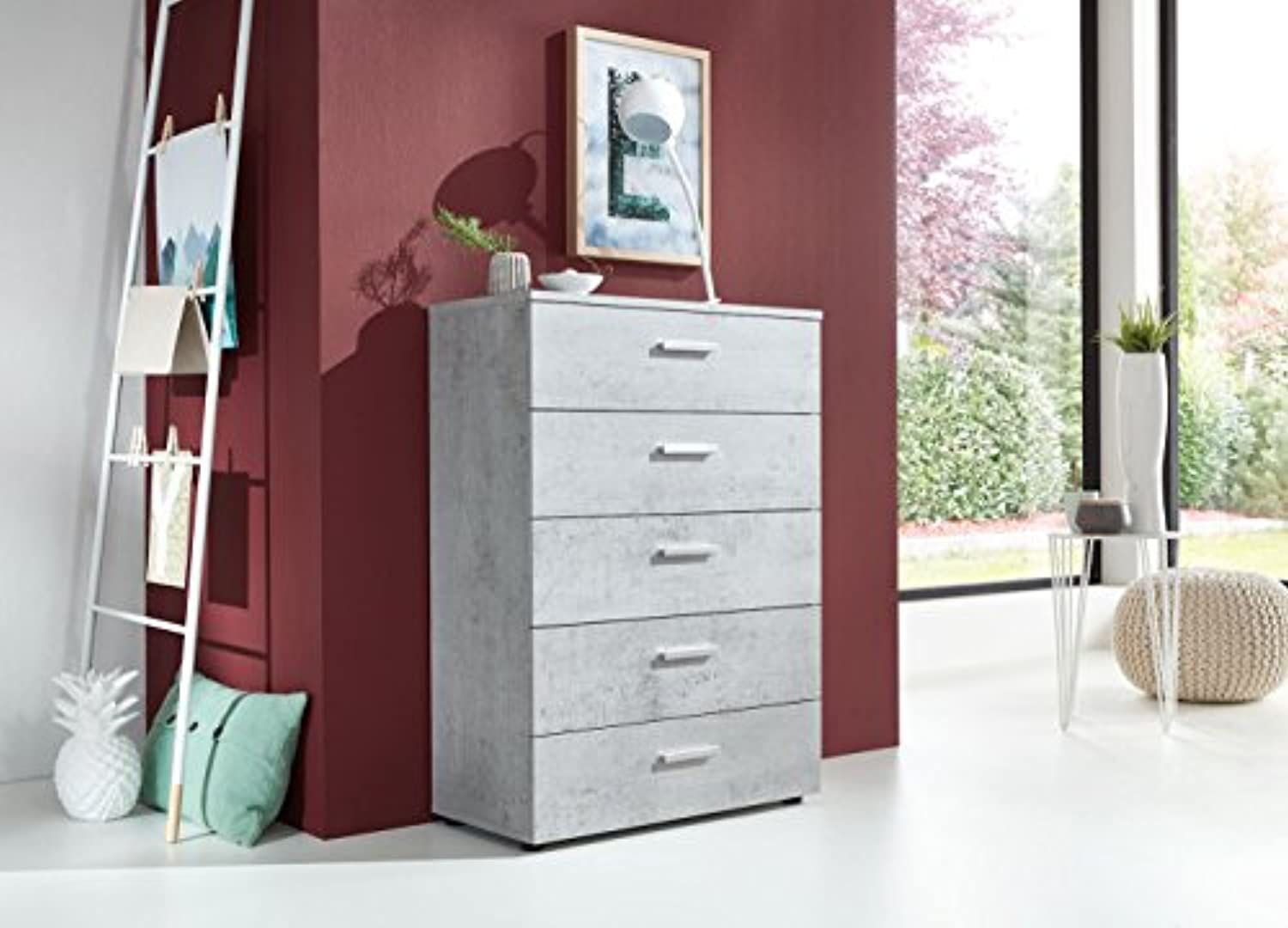 BMG Mbel Schubladen Kommode Sideboard Tower Marbella 6 in Beton Betonoptik - Made in Germany -