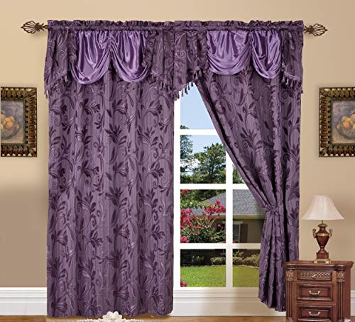 """Elegance LinenLuxury Design Jacquard Curtain Panel Set with Attached Valance 55"""" X 84 inch (Set of 2), Purple"""