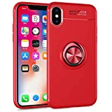 NALIA Funda con Anillo Compatible con iPhone X XS, Protectora Carcasa con Soporte Movil Coche Magnetico con 360° Kickstand, Fina Ring-Case Cover Cubierta Bumper Dura Estuche, Color:Rojo