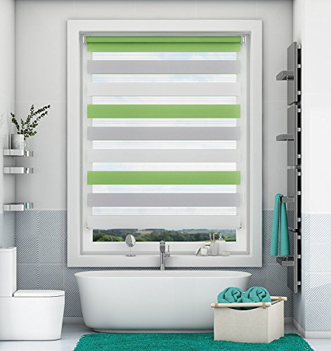 Magiea Doppelrollo Klemmfix ohne Bohren Duo Rollo mit Klämmträgern Sicht und Sonnenschutz für Fenster und Türen Grün-Grau-Weiß 40x150cm
