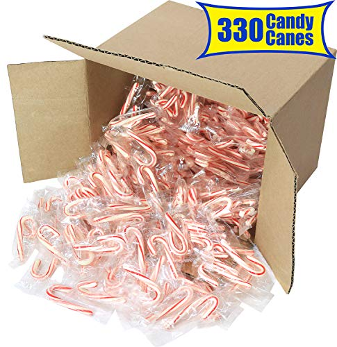 Greenco Mini Peppermint Candy Canes Red & White Individually Wrapped
