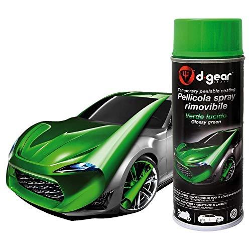 Vernice Pellicola Spray RIMUOVIBILE Removibile Wrapping D Gear 400ml + 1 Adesivo da pc Ricambi Auto Europa Gratis (Verde Lucido)