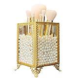 Organizador de Brochas de Maquillaje, Porta Brochas de Maquillaje, con Perlas Blancas, Se Utiliza para Almacenar Cosméticos, Pinceles, Delineador de Ojos, Utilizado en Baño, Tocador