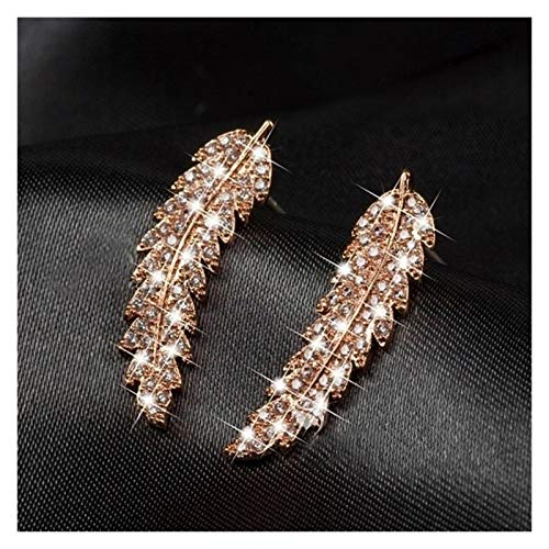 CHENGTAO 1 Par De Plumas Pendientes De Manguito Pendientes De Cristal Diamonden Hojas De Hojas Pendientes De Boda para Mujeres (Metal Color : Rose Gold)