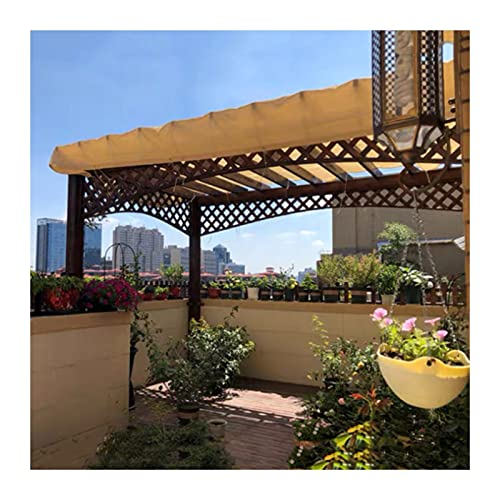 KKCF Paño De Sombra, Flores Jardín Red Sombreado Borde con Cinta Pantalla Malla Bloqueador Solar Ojales para Cubierta Pérgola Aire Libre, Tamaños Personalizables (Color : Beige, Size : 4x4m)