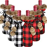 6 Pieces Christmas Buffalo Plaid Wine Bottle Covers Plaid Wine Bottle Holder Sweater Faux Fur Wine Bottle Pouch Bags for Christmas Party Decorations (Red, Gray)