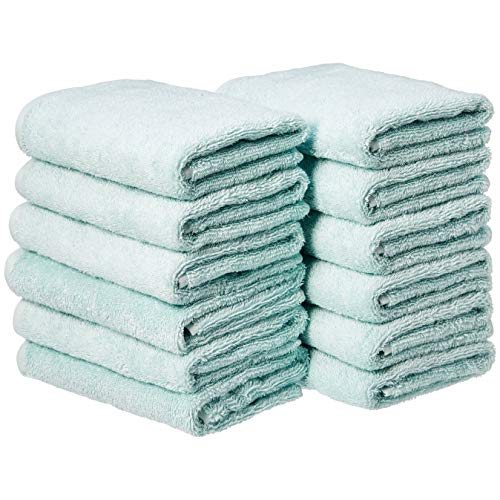 Amazon Basics - Toallas de mano (algodón, 12 unidades), color azul