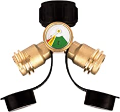 Camplux Propane Y-Splitter Tee Adapter Connector with Propane Tank Gauge Propane Tank Gauge Level Indicator Leak Detector Gas Pressure Meter, 100% Solid Brass with 1 Female QCC and 2 Male QCC