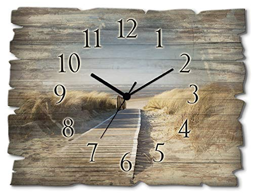 Artland Wanduhr ohne Tickgeräusche aus Holz Quarz Uhr lautlos rechteckig 40x30 cm Querformat Natur Strand Nordsee Meer Langeoog Steg maritim T5RM