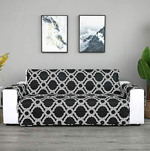 WRE 1 Pcs 2 Seater Sofa Slipcover Geometric Motif - 309DL #TN14D (Printed Black)