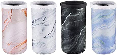 Wakaka Pack of 4 Neoprene Insulators Marble Pattern Cans Cover Sleeves Beer Coolies Fit for 12oz Slim Drink Beer Cans