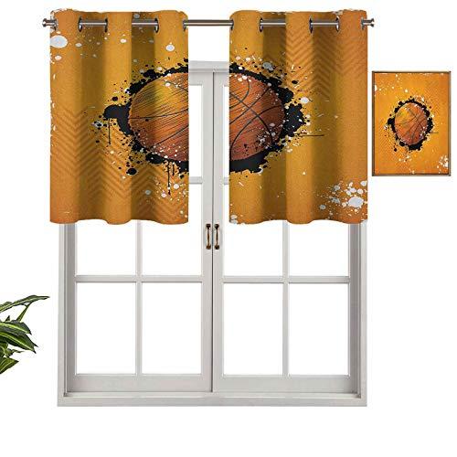 Hiiiman Cortinas cortas, protección de privacidad, diseño de baloncesto y salpicaduras de pintura sobre fondo Grungy, juego de 2, cortinas de ventana de 137 x 61 cm, para baño, cocina, sala de estar