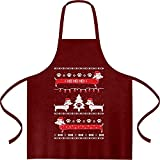 Shirtgeil Maglione di Natale - Bassotti nella Neve Grembiule da Cucina One Size Bordeaux