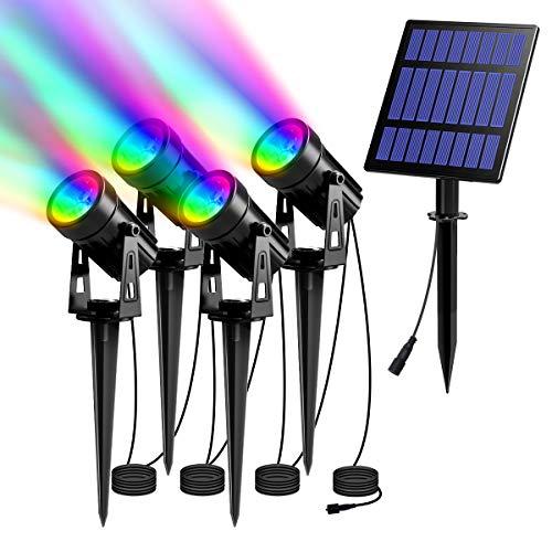 T-SUN Solarleuchte Garten, 4 Stück LED Gartenbeleuchtung Solar, Gartenstrahler Solar, Wasserdicht LED Solarlampe, Solar Außenleuchte, Gartenlampe, Wegeleuchte, Spotbeleuchtung.(Farbwechsel)