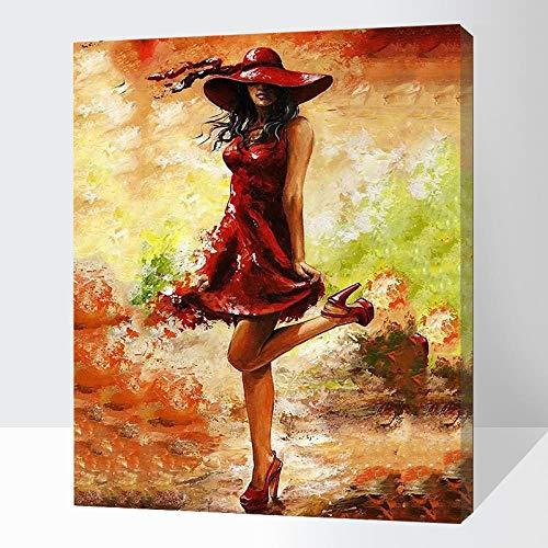 Digitaal schilderij om te knutselen, olieverfschilderij, doe-het-zelf schilderij op canvas, 40 x 50 cm, rode hoed, rode rok, hoge hakken rood Encadrée