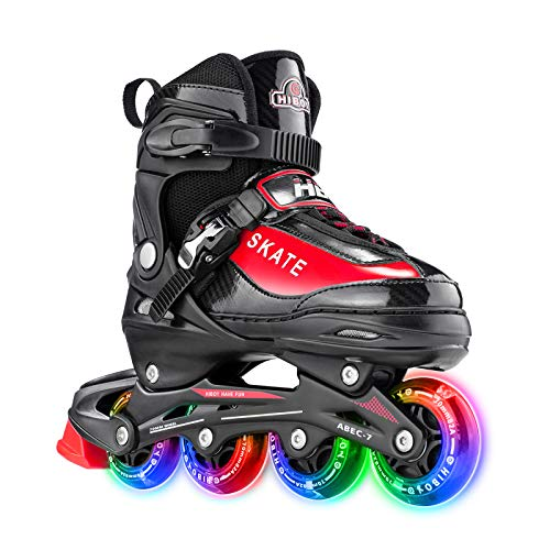 Hiboy Adjustable Inline Skates with All Light up Wheels, Outdoor & Indoor Illuminating Roller Skates for Boys, Girls, Beginners, Red (Small-12J-2) …