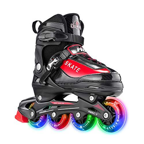 Hiboy verstellbare Inline-Skates mit Allen beleuchteten Rädern, beleuchteten Outdoor- und Indoor-Rollschuhen für Jungen, Mädchen, Anfänger (Small 31-34, Rot)