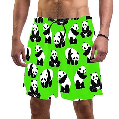 Pantalones cortos de playa de surf para hombre, de secado rápido, con bolsillo Panda fondo verde