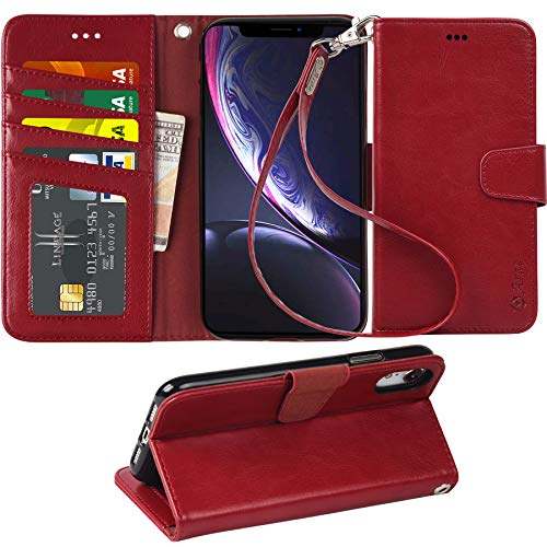 Arae Wallet Case for iPhone XR PU Leather flip case Cover [Stand Feature] with Wrist Strap and [4-Slots] ID&Credit Cards Pocket for iPhone XR 6.1 inch (Wine red)