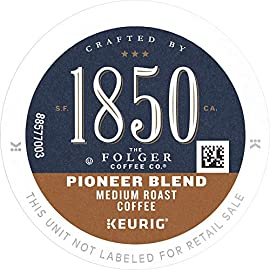 1850 by Folgers Coffee Pioneer Blend Medium Roast Coffee, K-Cup, 10 ct