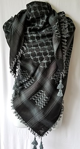 Desert Wear Black Bluish Gray Arab Shemagh Head Neck Scarf Authentic Cotton Quality Wrap