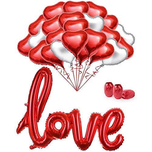 BETOY gouden liefde ballonnen, grote rode hart gevormde ballonnen en slinger - liefde ballon helium - Valentijnsdag bruiloft ballonnen partij decoraties Set - opknoping harten decoraties huis kamer decor