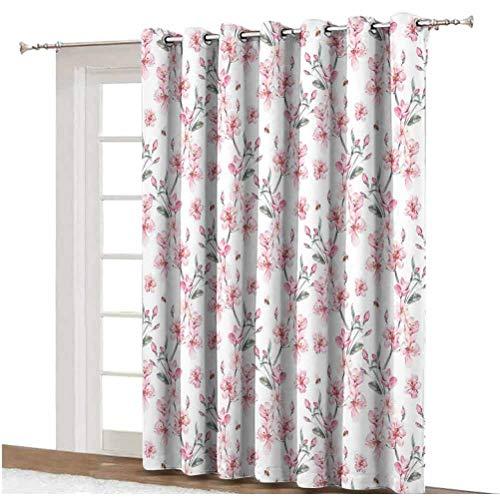 Cortinas opacas anchas de acuarela estilo vintage japonés, con ojales de cerezo, cortinas impresas, panel individual, 254 x 213 cm, para puerta corredera, color rosa pálido, verde y blanco