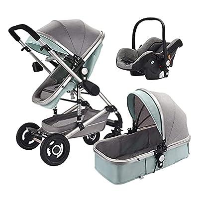 HZPXSB 3 en 1 Multi Funcional High Landscape Stroller Baby Stroller Baby PRAM BEBY Trolley Cochecitos Plegables Carrito de bebé (Color : Gray Green)