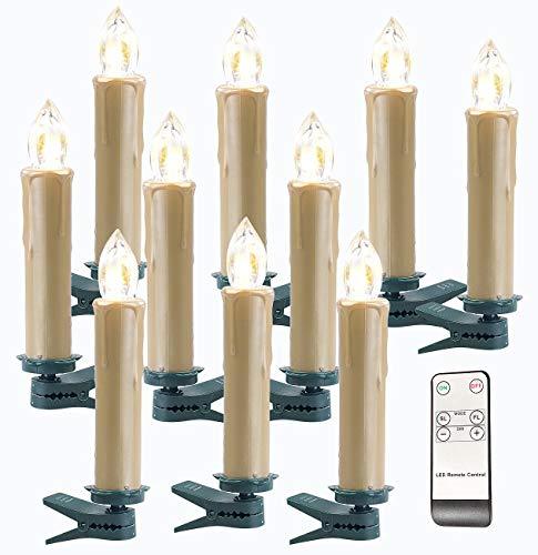 Lunartec Kabellose Kerzen: FUNK-Weihnachtsbaum-LED-Kerzen, Fernbedienung, 10er-Set, golden (Funk Weihnachtsbeleuchtung)