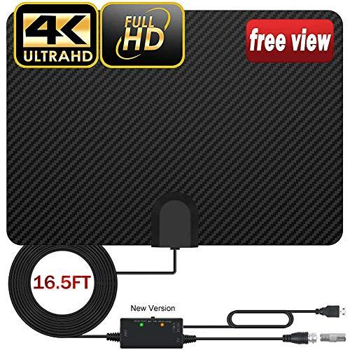Alicer Antena de TV digital HDTV de 210 millas con amplificador, antena interior de TV 4K 1080P receptor de antena de TV accesorio de TV