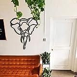 ODUN ARTS - Elefante Curvy - Cuadros Decorativos de Madera - Decoración de Pared - 81 cm Alto X 66 cm Ancho X 1 cm de Espesor - Negro