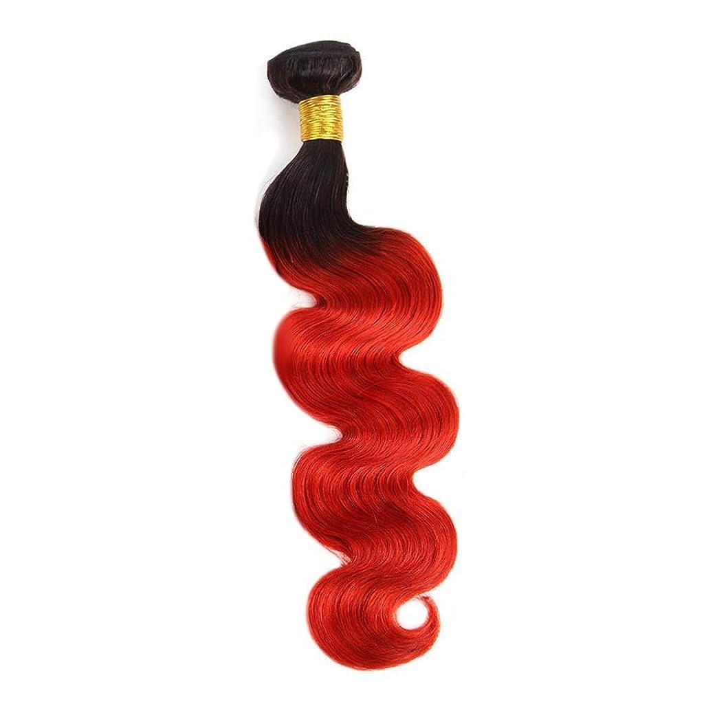 教室宇宙のアレンジYESONEEP 実体波バンドル100%本物の人間のバージンヘア1バンドル-T1B / 39J黒から赤2トーン色ロールプレイングかつら女性の自然なかつら (色 : レッド, サイズ : 16 inch)