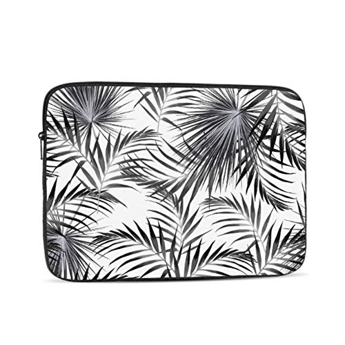 Laptop Cases Black White Tropical Palm Leaves MacBook Pro 15 Case Multi-Color & Size Choices 10/12/13/15/17 Inch Computer Tablet Briefcase Carrying Bag