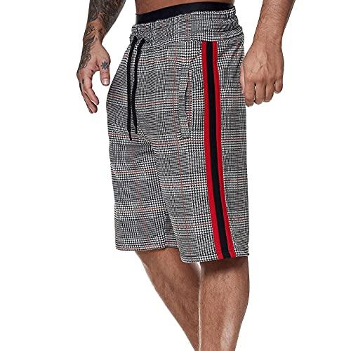 Pantaloncini da Uomo alla Moda a Righe con 2 tasche Pantaloncini Casual con Coulisse in...