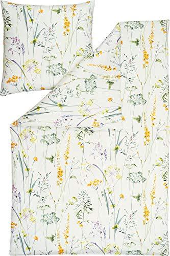 ESTELLA Bettwäsche Melis Interlock-Jersey lindgrün-apricot-wollweiß Größe 135x200 cm (40x80 cm)