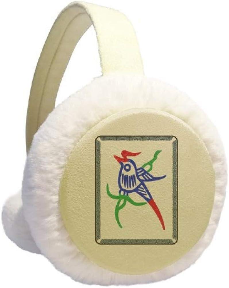 Mahjong Bamboo Bar 1 Tiles Pattern Winter Earmuff Ear Warmer Faux Fur Foldable Plush Outdoor Gift