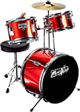 Music Alley 3 Piece Kids Drum Set with Throne, Cymbal, Pedal & Drumsticks, Red, (DBJK02-MR)