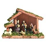 S-TROUBLE Natività Presepe Resina Statuine Ornamento Presepe Set Stalla per Decorazione Domestica Chiesa