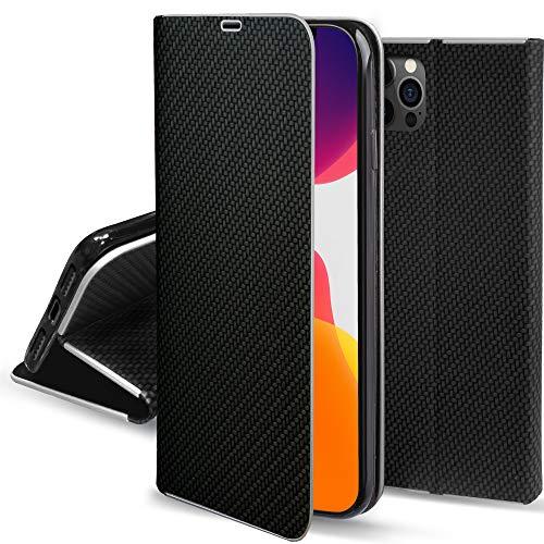 Moozy Funda con Tapa para iPhone 12, iPhone 12 Pro, Carbono Negro – Flip Cover con Bordes Metalizados de Protección Elegante, Soporte y Tarjetero