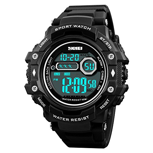 Boys Military Watch Digital Waterproof Stopwatch Timer Alarm Calendar EL Light (Black)