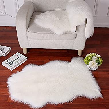 Faux Fur Sheepskin Rug Careu Soft Chair Cover Throw Rug for Lounge Bed Floor Bathroom,White (2ft×3ft)