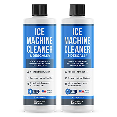 2-Pack Ice Machine Cleaner and Descaler 16 fl oz, Nickel Safe Descaler | Ice Maker Cleaner Compatible with All Major Brands (Scotsman, KitchenAid, Affresh) - Made in USA by Essential Values